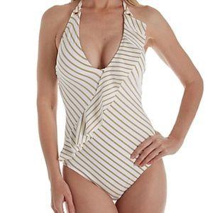 LRL Lurex Ruffle Halter One Piece Swimsuit Size 4